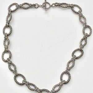 Sterling Silver and Marcasite Large Chain Necklace